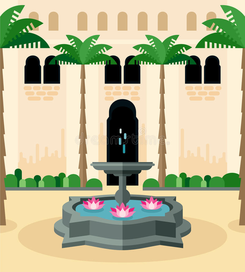 Medelhavs- traditionell borggård royaltyfri illustrationer