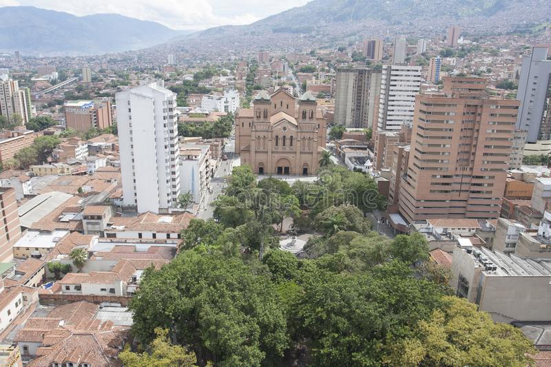 Medellin, Colombia, Cathedral and Bolivar Metropolitan Park. September 23, 2015 royalty free stock photo