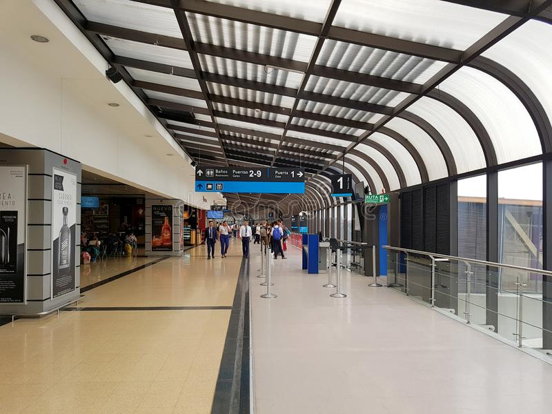 Medellín, Colombia. 05 05 2019: Interior or inside of the airport Jose MariaCordova in Rio negro, with international tourist and stock images