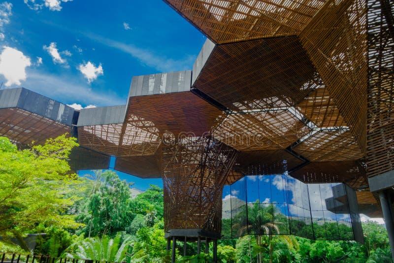 MEDELLIN, КОЛУМБИЯ 22-ОЕ ОКТЯБРЯ 2017: Красивые архитектурноакустические woodden структура в ботаническом парнике в Medellin стоковая фотография rf