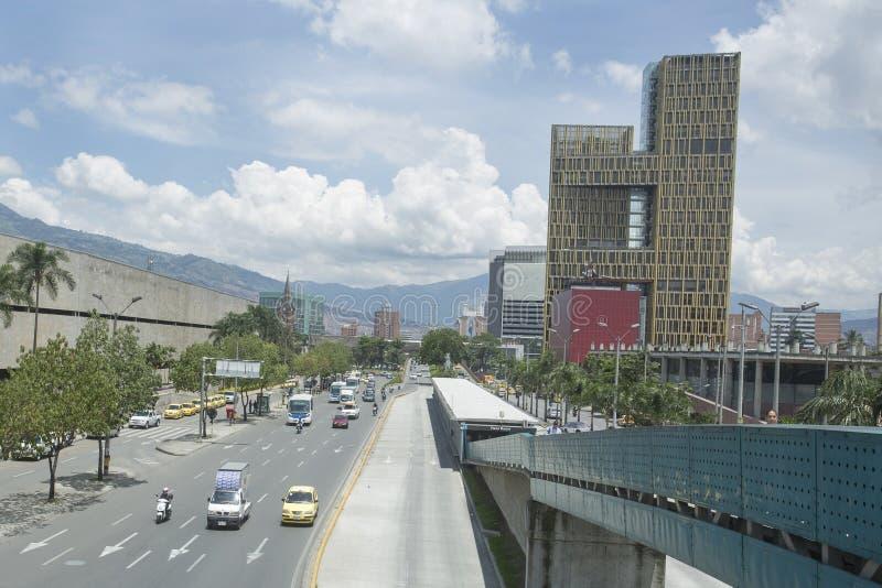 Medellin Antioquia/Colombia - 28 September 2016 Aveny Ferrocarril, viktig aveny av staden arkivfoto