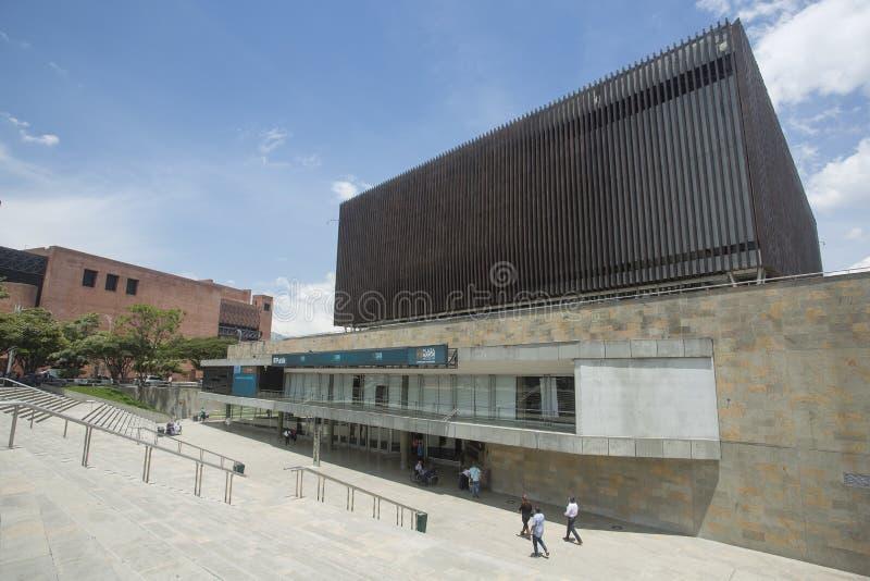Medellin Antioquia/Colombia - September 28, 2016 Plazaborgmästare, internationell regel och utställningmitt arkivbilder