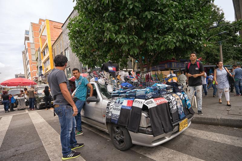Street vendor selling clothing in Medellin Colombia royalty free stock images