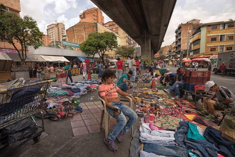 Flea market in Medellin, Colombia stock photos