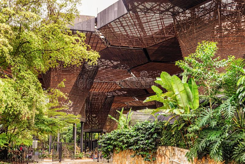 Modern architectural wooden structure in a botanical garden in M. Medellin, Colombia - March 24, 2018: Beautiful modern architectural wooden structure in a stock images