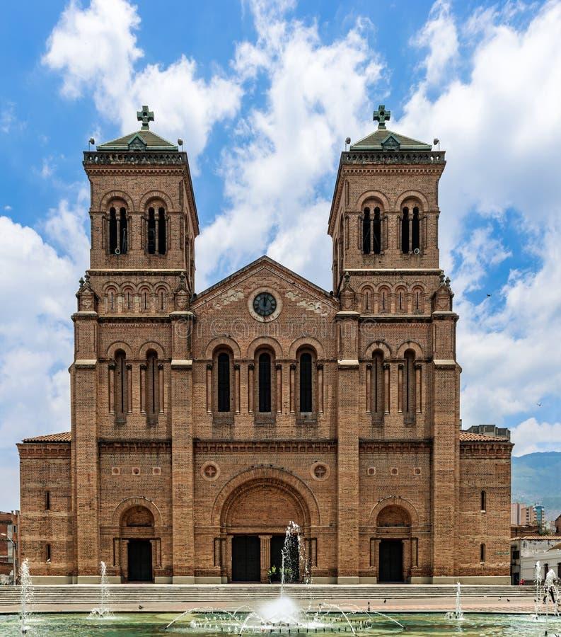 Facade of the Catedral Basílica Metropolitana de Medellín, Col. Medellin, Colombia - March 26, 2018: Facade of the Cathedral Basilica Metropolitan de royalty free stock photography
