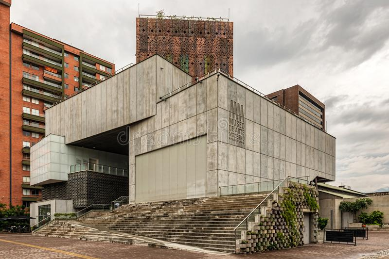Museum of modern art building in Medellin, Colombia. Medellin, Colombia - March 29, 2018: Futuristic architecture of the Museum of modern art building in stock photography