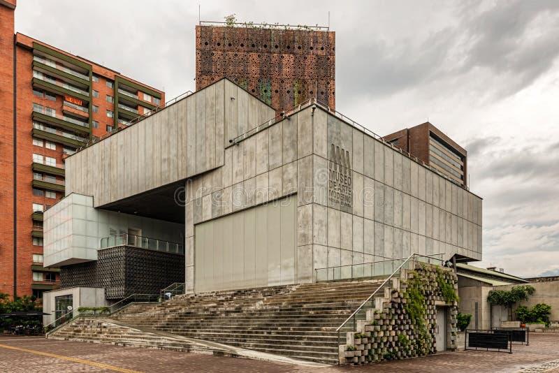 Museum of modern art building in Medellin, Colombia. Medellin, Colombia - March 29, 2018: Futuristic architecture of the Museum of modern art building in stock photos