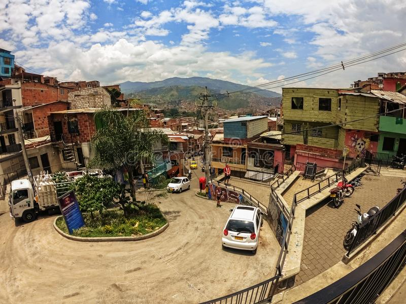 Houses at Comuna 13 in Medellin, Colombia. Medellin, Colombia - March 28, 2018: The landscape view over Comuna 13 the district of Medellin, Colombia stock images