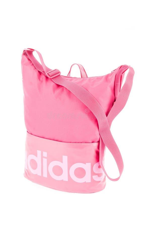 Medellin, Colombia - Marzo 15, 2019: ADIDAS - borsa femminile mani libere di rosa immagine stock