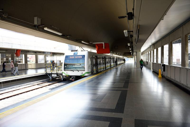 Medellin Metro public transportation system, the only rail-based mass transportation system in Colombia stock image