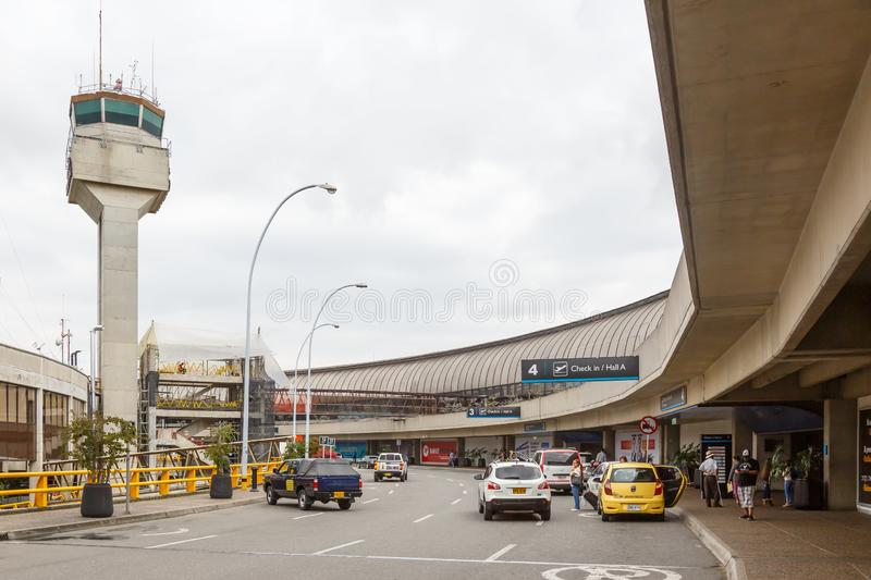 Medellin Rionegro Airport MDE Terminal and Tower. Medellin, Colombia – January 27, 2019: Terminal and Tower of Medellin Rionegro airport MDE in Colombia royalty free stock photos