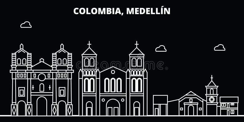 Medellin-Schattenbildskyline Kolumbien- - Medellin-Vektorstadt, kolumbianische lineare Architektur, Gebäude Medellin-Linie stock abbildung