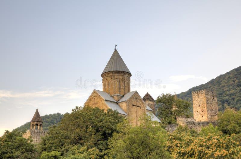 Medeltida Ananuri slott arkivfoto