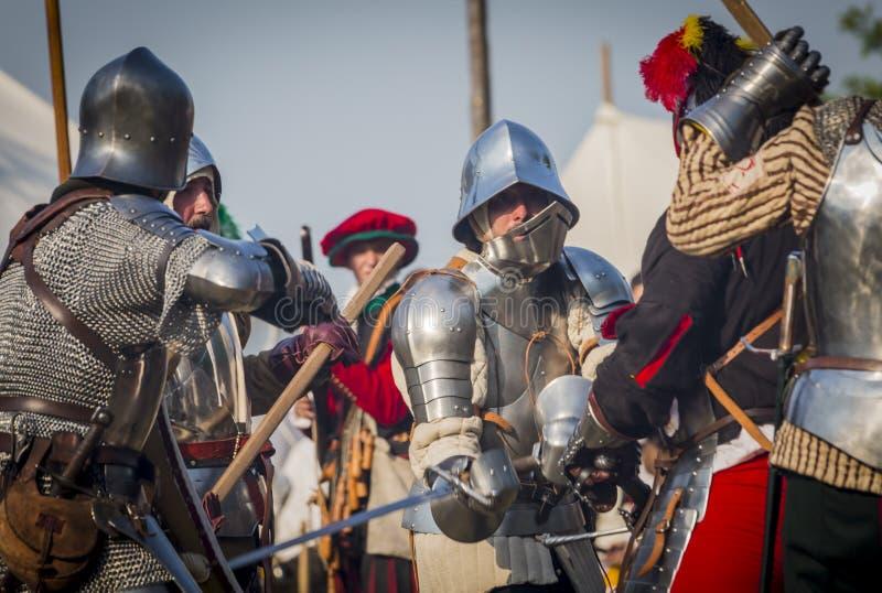 Medeltida arrangerad strid - Rievocandum 2015 royaltyfria foton