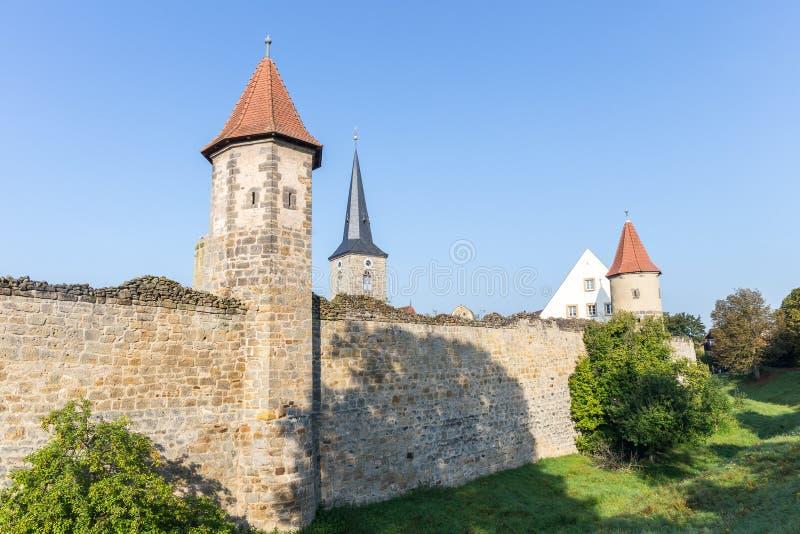 Medeltida bayersk stad Sesslach i Tyskland arkivfoton