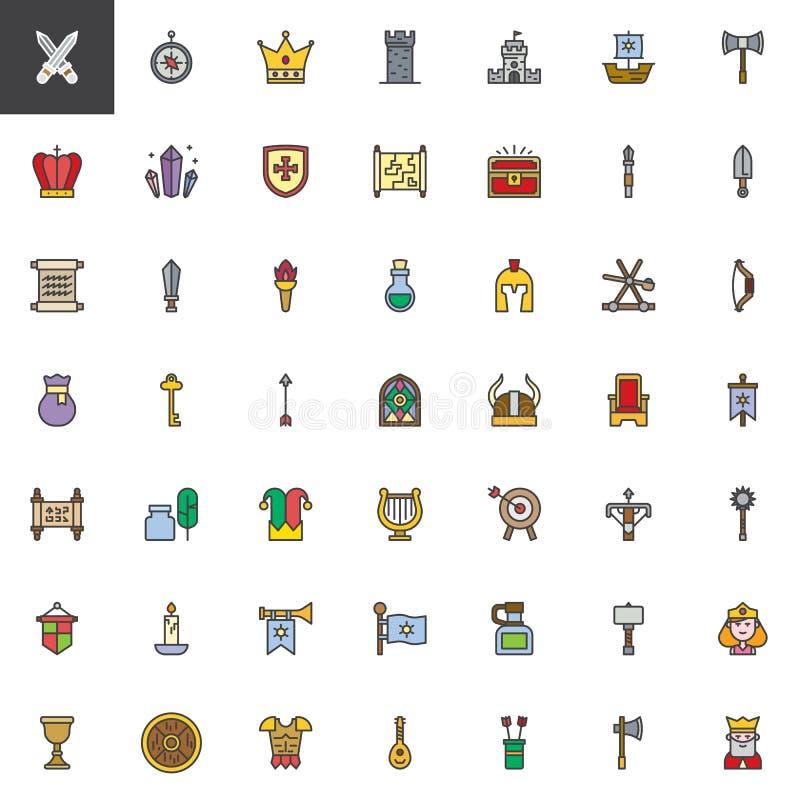 Medeltida beståndsdelar fylld översiktssymbolsuppsättning stock illustrationer
