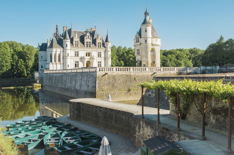 Medeltida Chateau för Chenonceau slott i Frankrike arkivbilder