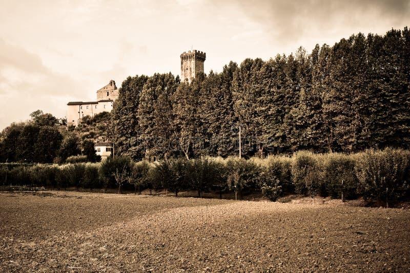 Medeltida citadell av Vicopisano (tonade Italien - Tuscany - Pisa) - royaltyfria foton