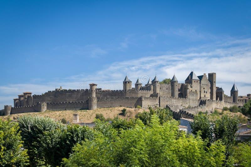 Medeltida fästning av Carcassonne, Frankrike arkivbilder