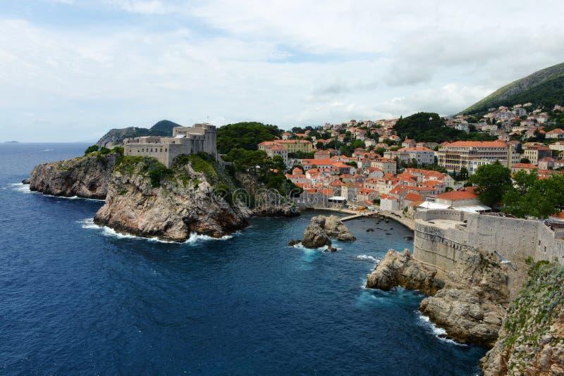 Medeltida fästningar i Dubrovnik, Kroatien arkivfoto
