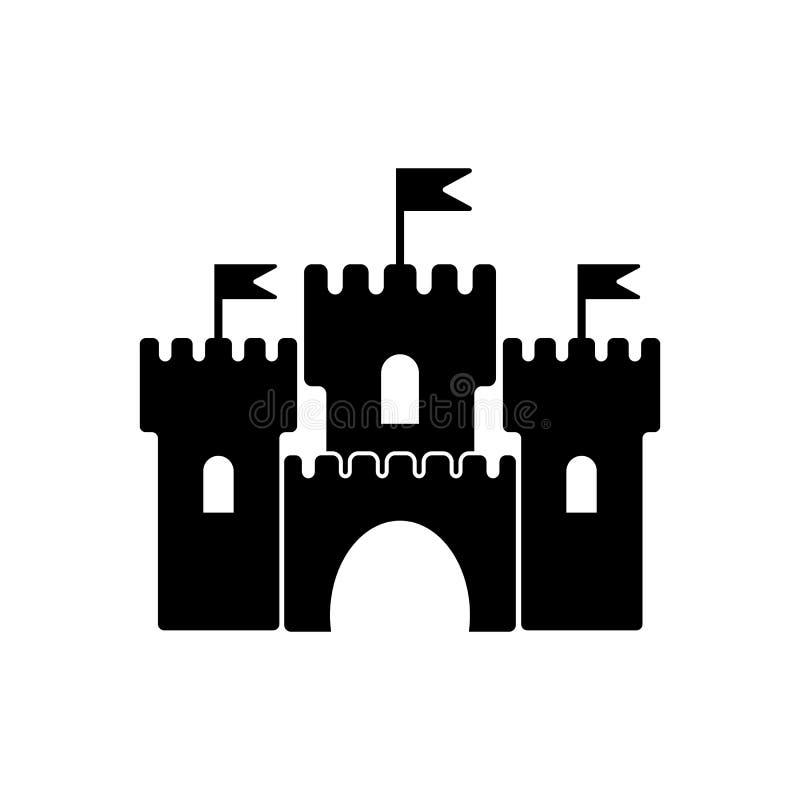 Medeltida fästningvektorsymbol, slott stock illustrationer