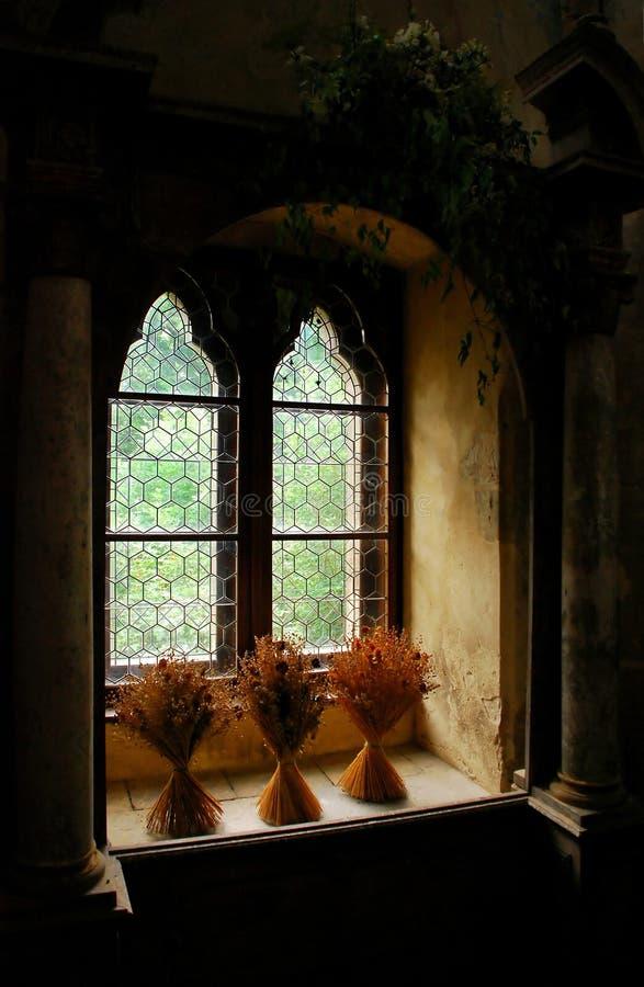 medeltida fönster royaltyfri foto