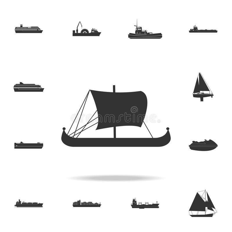 Medeltida fartygsymbol Detaljerad uppsättning av vattentransportsymboler Högvärdig grafisk design En av samlingssymbolerna för we vektor illustrationer