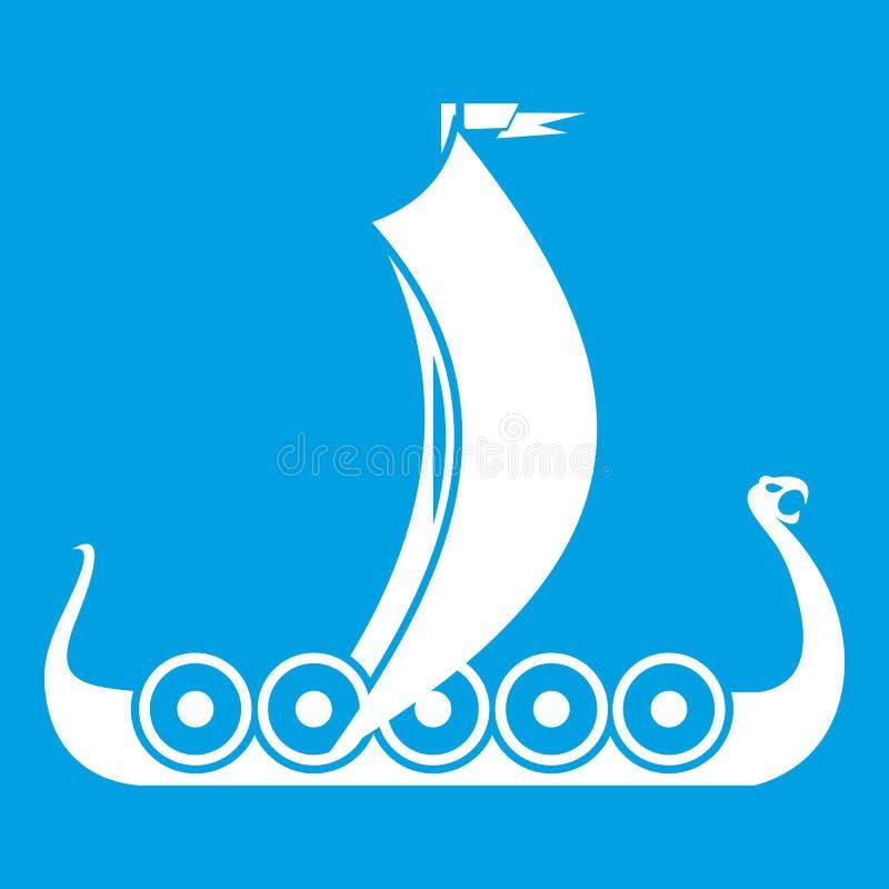 Medeltida fartygsymbolsvit royaltyfri illustrationer