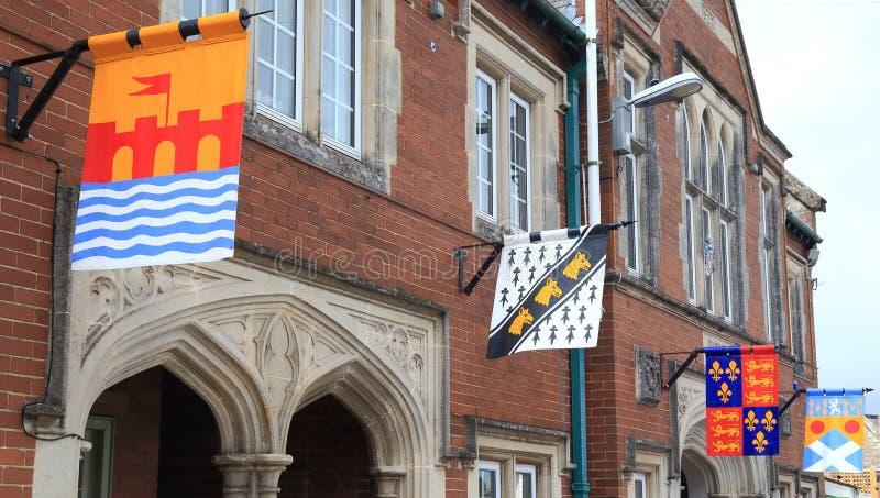 Medeltida flaggor i Colyton royaltyfri foto