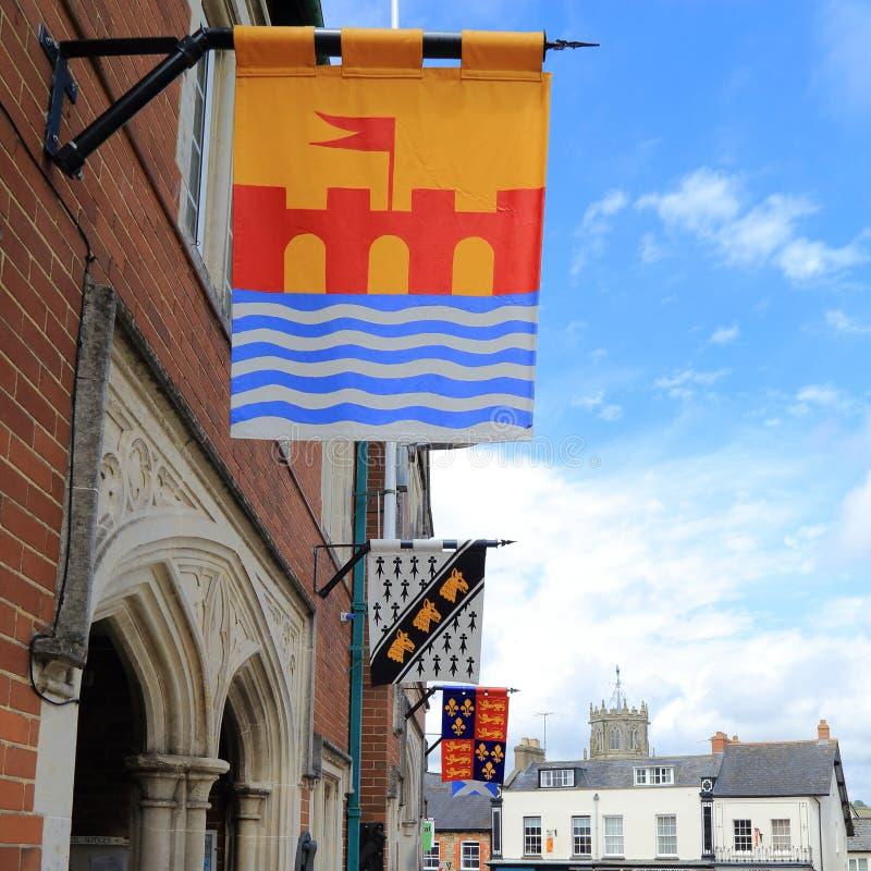 Medeltida flaggor i Colyton fotografering för bildbyråer