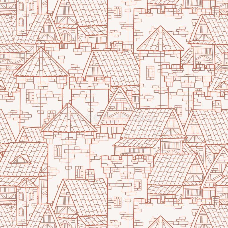 Medeltida forntida stad seamless modell stock illustrationer