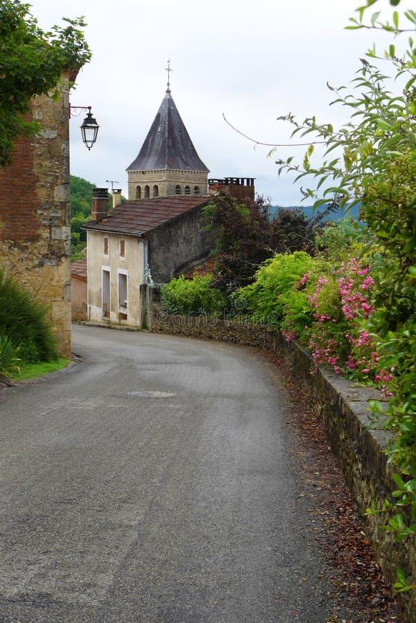 Medeltida fransk stad & kapell arkivfoto