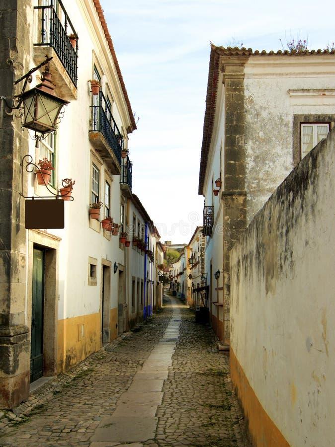 Medeltida gata i Obidos royaltyfria foton