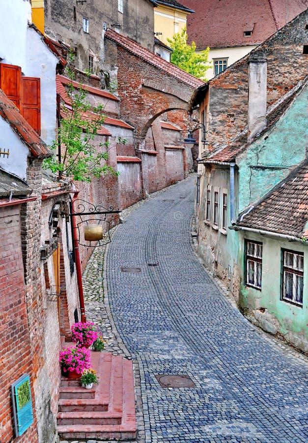 Medeltida gata i Sibiu royaltyfri fotografi