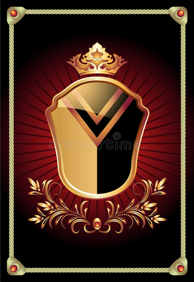 Heraldiskt skydda den utsmyckade guld- prydnaden vektor illustrationer