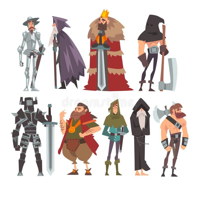 Medeltida historiska tecknad filmtecken i traditionella dräkter uppsättning, krigare, konung, riddare, gammal trollkarl, munk, bö stock illustrationer
