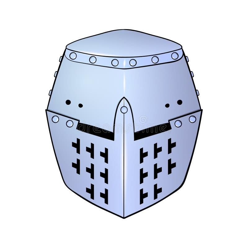Medeltida hjälm för riddare` s på en vit bakgrund stock illustrationer