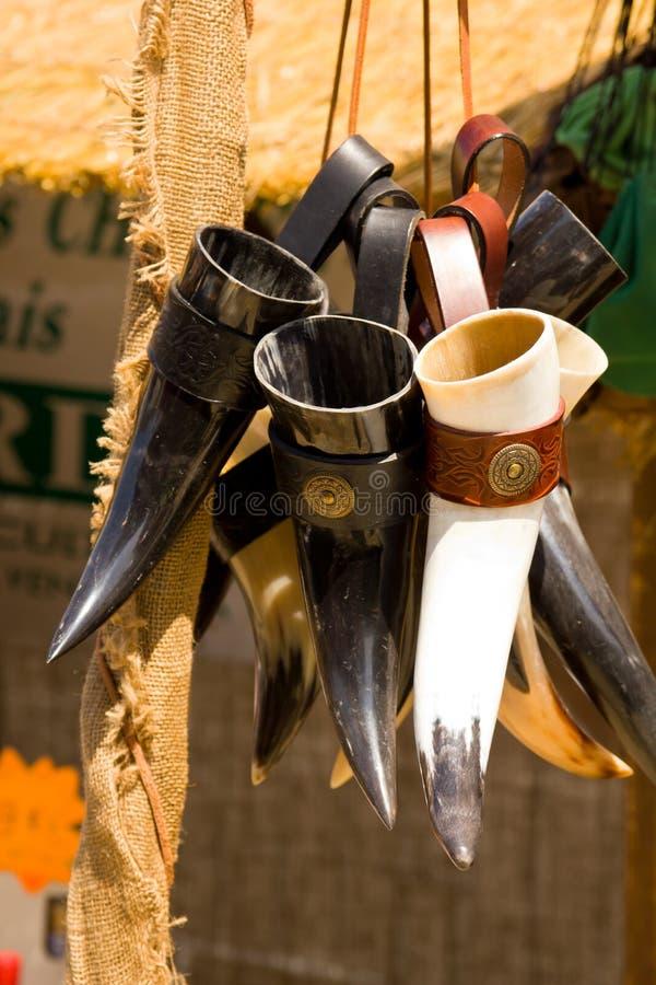 medeltida horns arkivbild