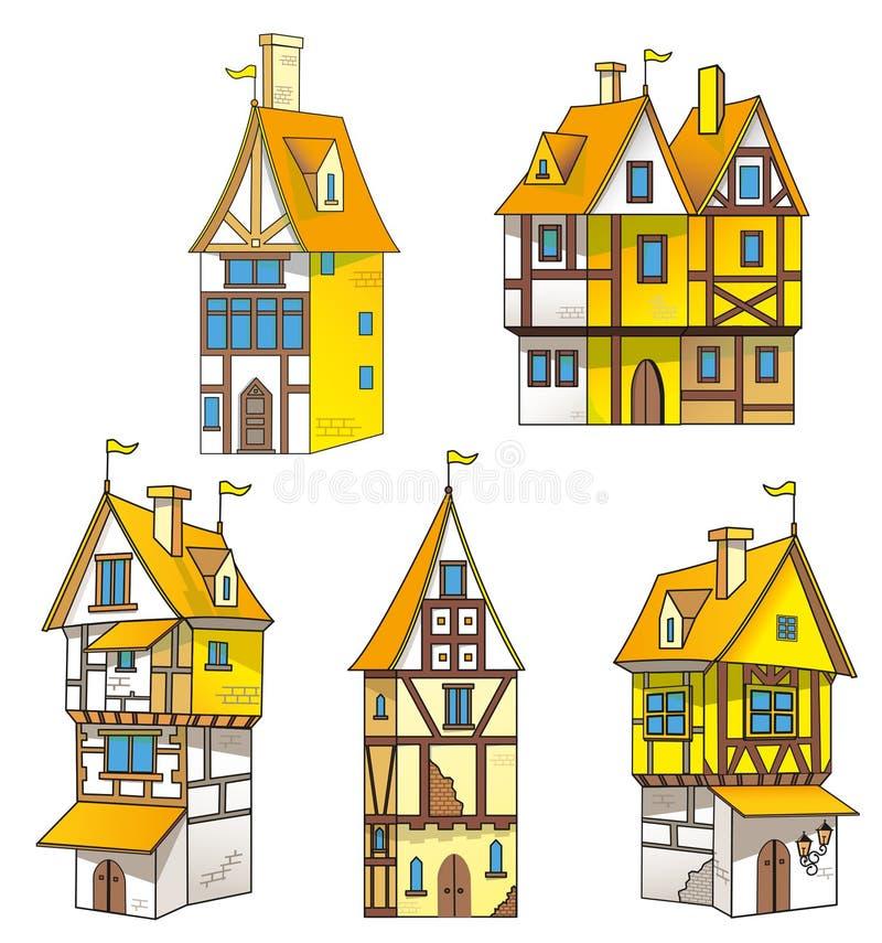 Medeltida hus för tecknad film stock illustrationer