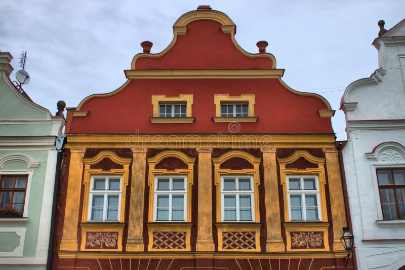 Medeltida hus i Telc fotografering för bildbyråer