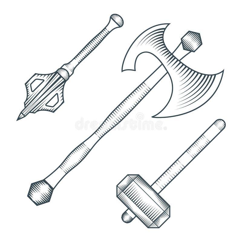 Medeltida illustration för stil för gravyr för yxawarhammermuskotblomma stock illustrationer