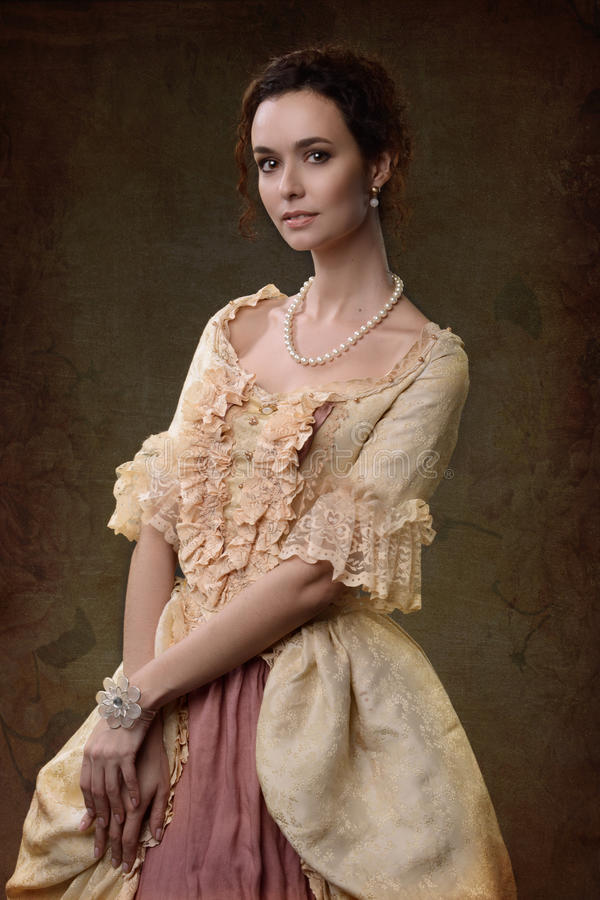 medeltida klänninglady arkivfoto