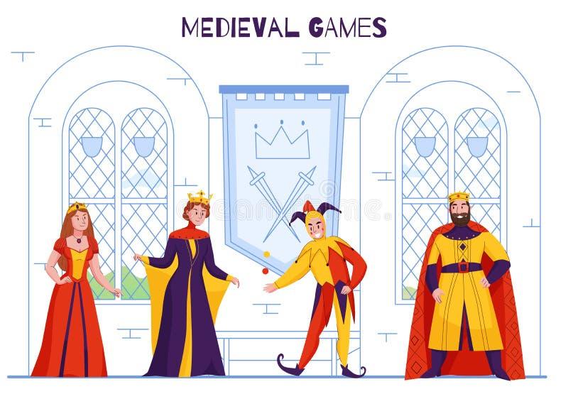 Medeltida kungarike Jester Composition vektor illustrationer