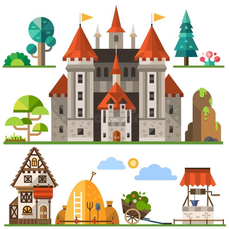 Medeltida kungarikebeståndsdel stock illustrationer