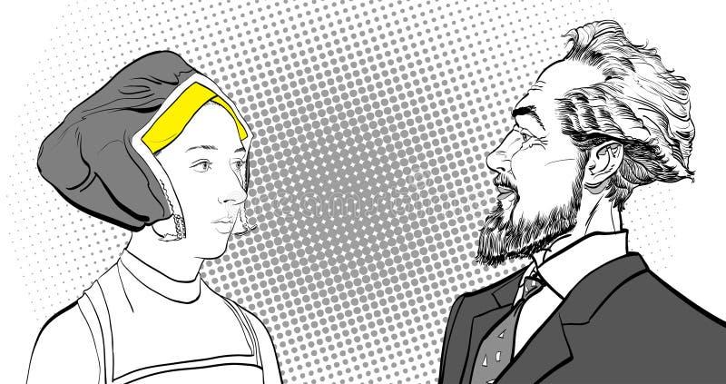 Medeltida kvinna och skäggig man Portrates royaltyfri illustrationer