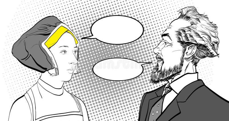 Medeltida kvinna och skäggig man Portrates vektor illustrationer