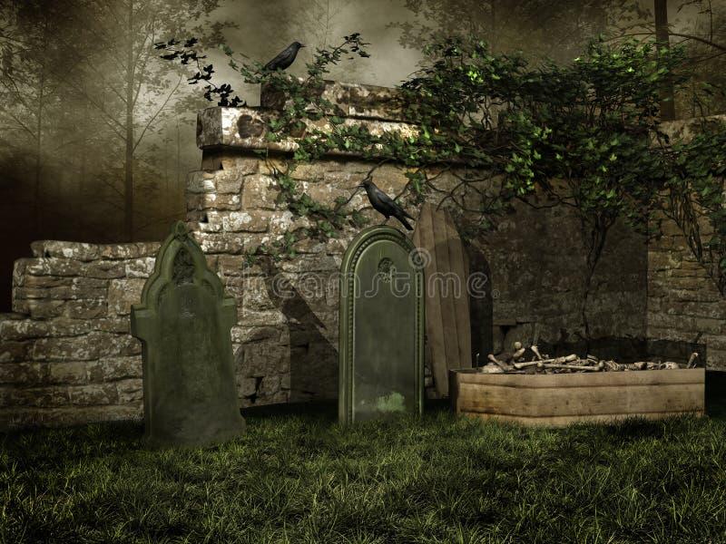 Medeltida kyrkogård med ben stock illustrationer