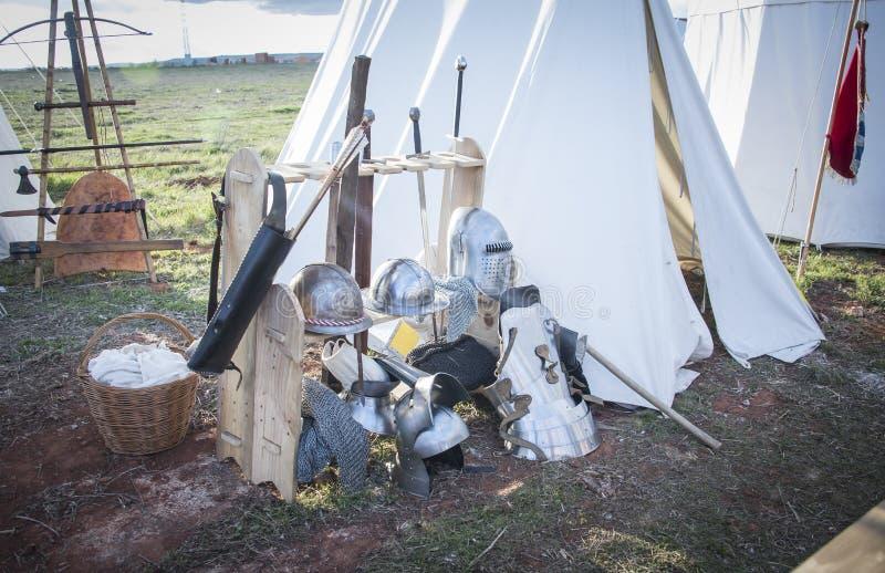 Medeltida läger s xiv Historisk reenactment av striden av Montiel spain arkivbild