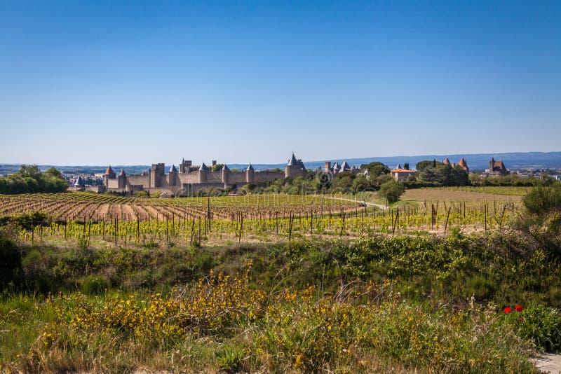Medeltida Le Citera i Carcassonne arkivfoto